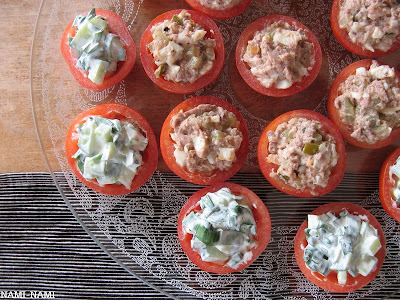 Stuffed tomatoes with two types of salad