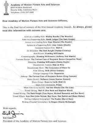 Previziuni castigatori Oscar 2009