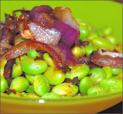 Edamame with Caramelized Onions