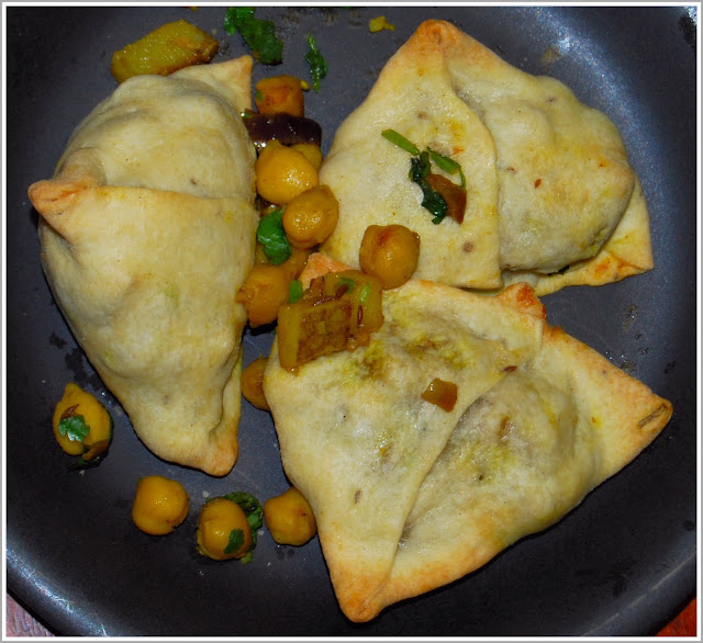 Samosas, baked and stuffed with a delicious chickpea filling