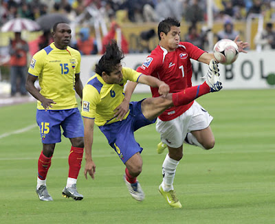 Ecuador and Chile battle it out during a South American World Cup qualifier