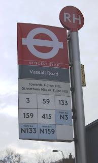 Photo of Brixton Road/Vassall Road bus stop sign, Vassall Ward, SW9