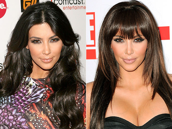 Celebrity hair drama before after emma watson kim kardashian ok kims bangs are definitely not real do you see the sharp line of the clip on bangs eh im not feeling it clip in extensions are just asking for an pmusecretfo Image collections