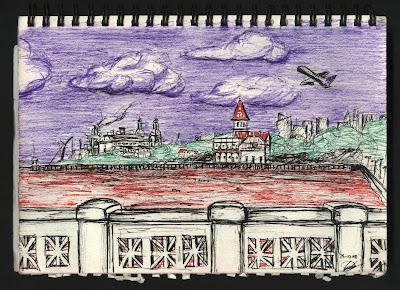 dibujo Retrasos en aeroparque. Buenos Aires, Argentina
