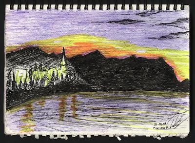 dibujo Atardecer en Bariloche. Argentina