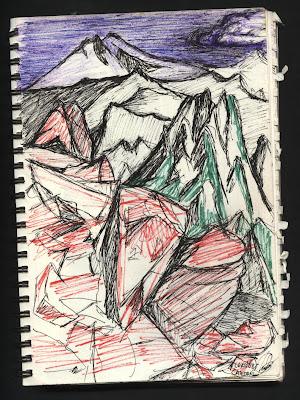 dibujo Tronador desde cerro Catedral. Bariloche. Argentina