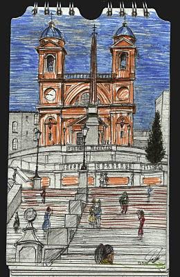 Piazza de Spagna. Roma. Italia. dibujo, drawing
