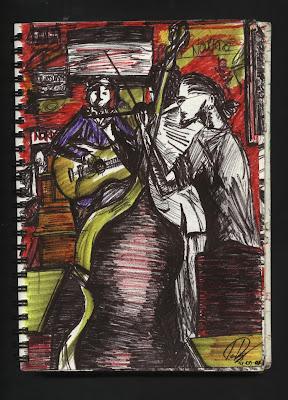 dibujo Piano vache - Paris - live music - dessin