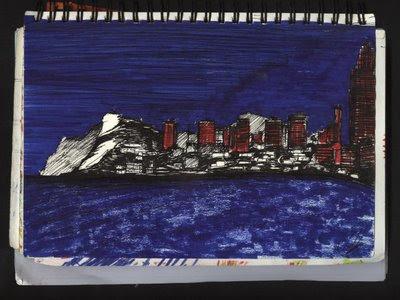 dibujo skyline benidorm ley costas