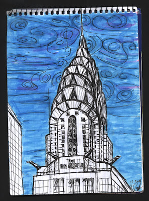 dibujo Chrysler Building. New York City. NYC drawing