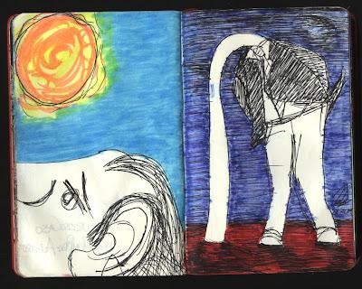 dibujo hombre avestruz, ostrich man drawing