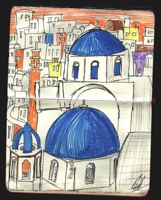 dibujo tejados de Oia, santorini, grecia. Oia roofs drawing, greece
