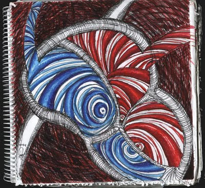dibujo corazón acústico, caja acústica, acoustic heart drawing