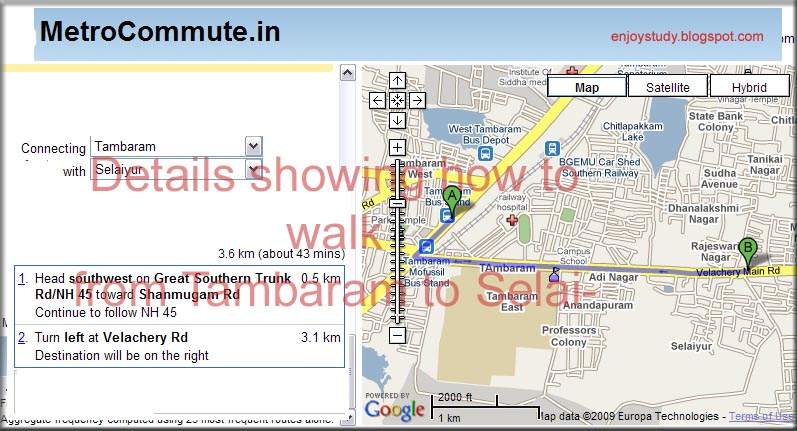 walking and bus routes of chennai city