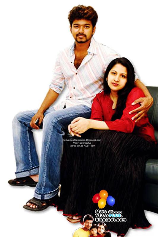 vijay and his wife sangeetha family photo