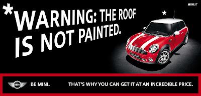 Publicité Mini : attention, le toit n'est pas peint !