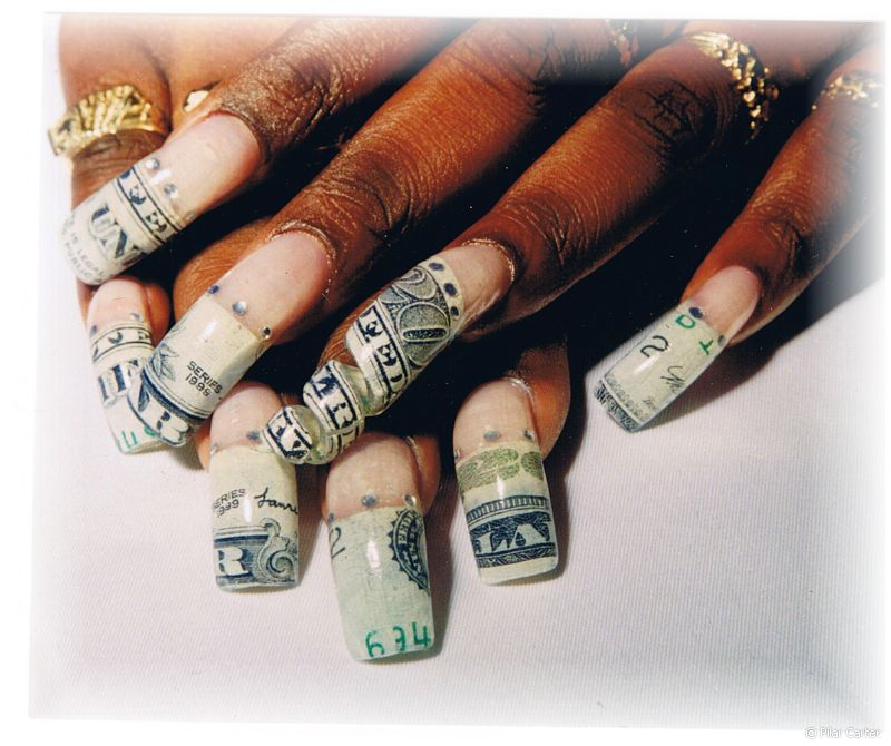 topnails: Chopped-up twenty-dollar bill used for nail art on extreme ...