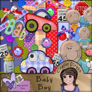 http://craftyscraps.blogspot.com/2009/10/cute-baby-boy-freebie-kit.html