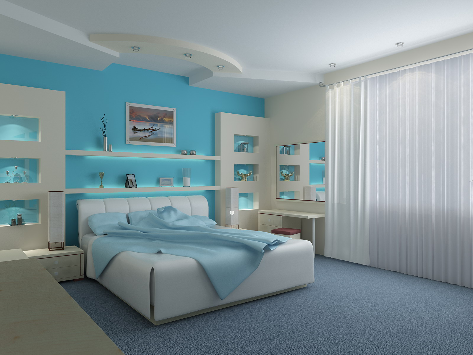 fabulous blue bedroom interior