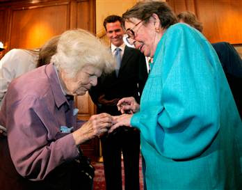 Del Martin placing ring on finger of Phyllis Lyon, 16 June 2008, San Francisco City Hall -- Photo by Marcio Jose Sanchez, AP