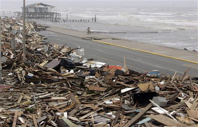 Debris from Hurricane Ike along the Galveston seawall