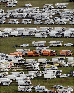 Utility repair trucks gathered at Gulf Coast after Hurricane Ike