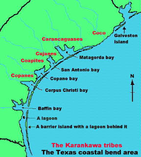 Map of Karankawa Indians, Texas Coastal Area