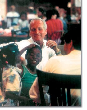 Paul Newman with campers at a Hole In The Wall Gang camp