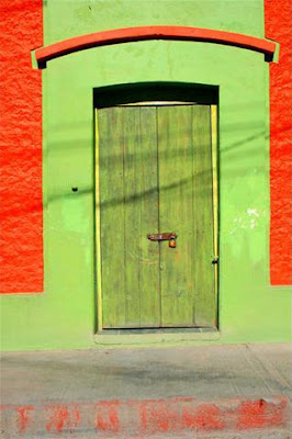 Photo of bright green door