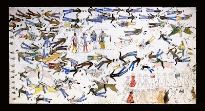 Painting by Kicking Bear of the Battle of Little Big Horn