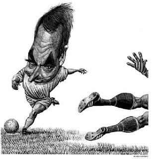 Caricatura de Zapatero futbolista