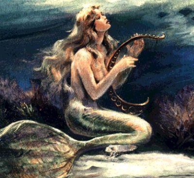 bella sirena tocando instrumento musical