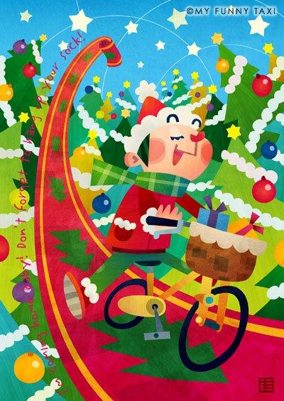 クリスマスのイラスト 「自転車サンタ」
