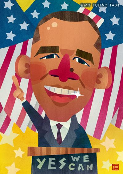 バラク・オバマ次期大統領の似顔絵