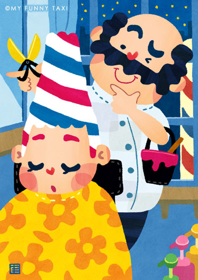 床屋のイラスト barber shop illustration