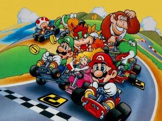 Desenho da turma do Super Mario Kart