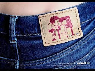 Campanha da UNICEF contra trabalho infantil. UNICEF and child job. Jeans fabricado por crianças.