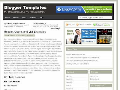 Ads Theme Blogger Skin