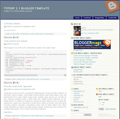 Typo XP 2.1 Blogger Template