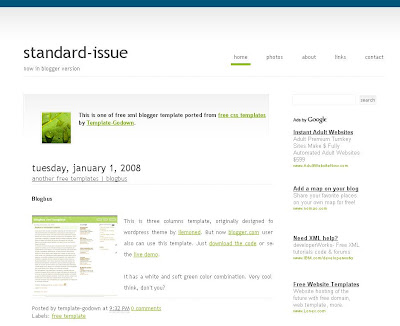 Standard Issue Blogger Template