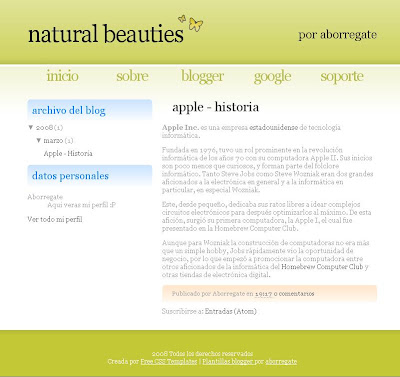 Natural Beauties Blogger Template