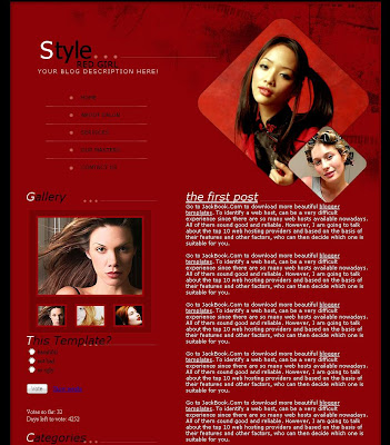 Red Girl Blogger Template