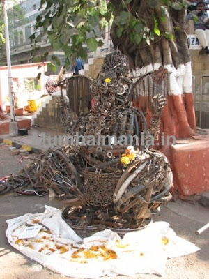 A ganesha made of junk cycle parts