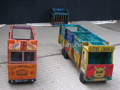Wooden painted trucks