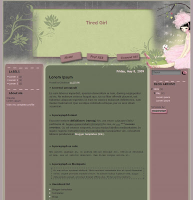 Tired Girl Blogger Template