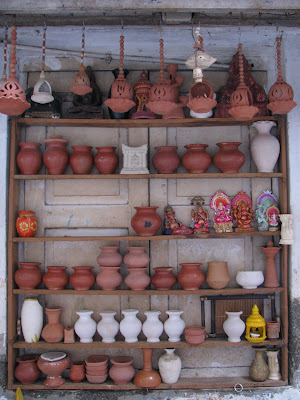 assorted earthernware outside shop
