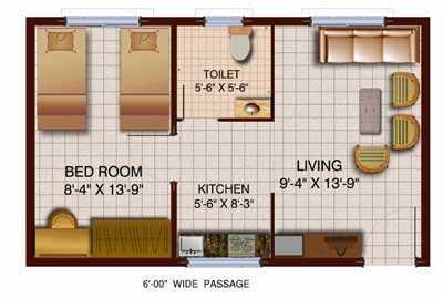 tmc 1 bhk flat plan