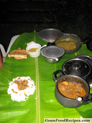 goan food on banana leaves