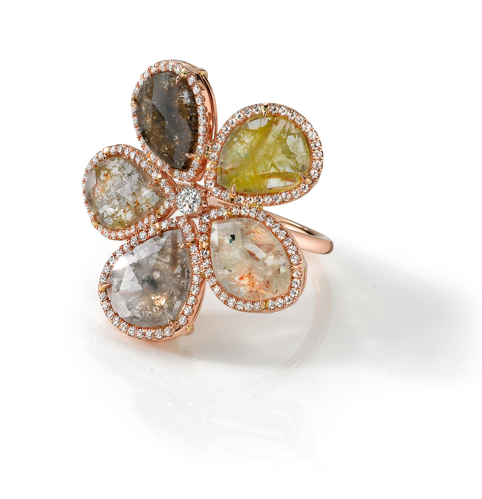 SusanFosterLosAngeles Flower Diamond Slice Ring for Spring