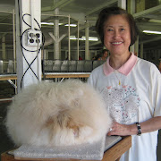 Betty and her English Angora Best of Breed winner Chu's Fawnnella who .